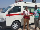 Aden, Yemen. The ICRC facilitated the delivery and handover of an ambulance donated by the International Federation of Red Cross