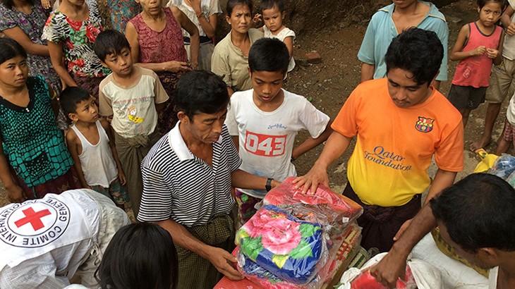 """فيضانات ميانمار: اللجنة الدولية للصليب الأحمر تشارك في جهود الإغاثة المبذولة في """"راخين"""""""
