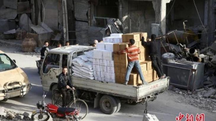 中国新闻网:数周来首批人道主义物资进入叙利亚东古塔