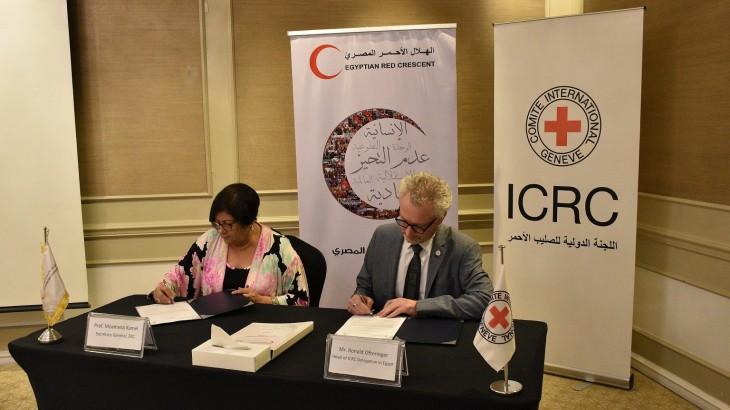 توقيع اتفاقية شراكة بين الهلال الأحمر المصري واللجنة الدولية للاستجابة المشتركة للاحتياجات الإنسانية