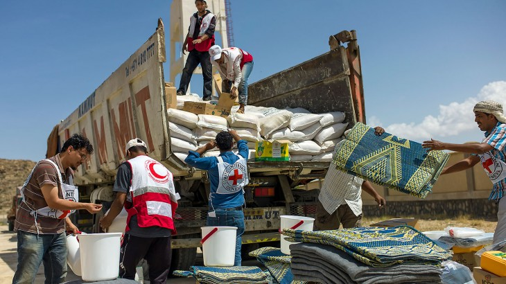 Red Cross and Red Crescent relief aid in Yemen