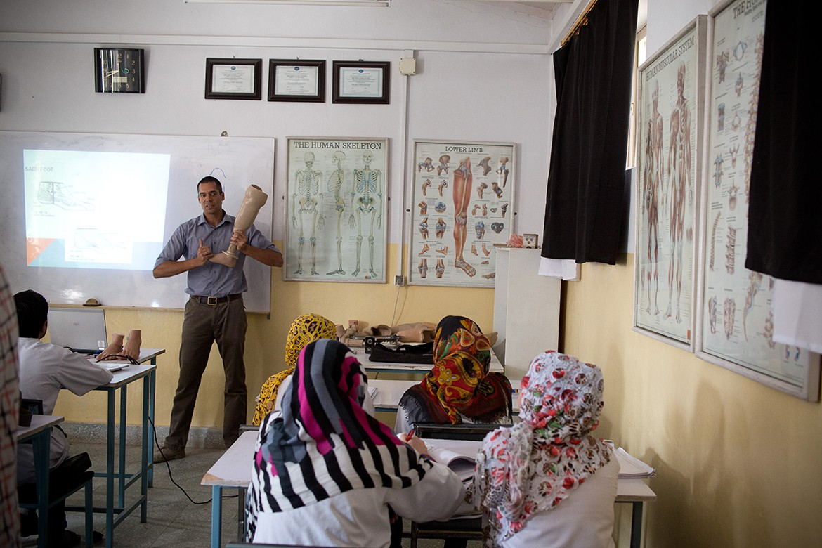 At an ICRC Orthopaedic Centre for physical rehabilitation of war-wounded and disabled in Kabul, Afghanistan.