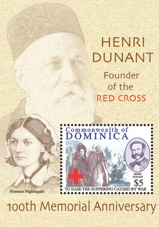 Доминика, 2010 г.: Анри Дюнан и Флоренс Найнтингейл.  Марка, выпущенная к столетию со дня смерти Анри Дюнана.