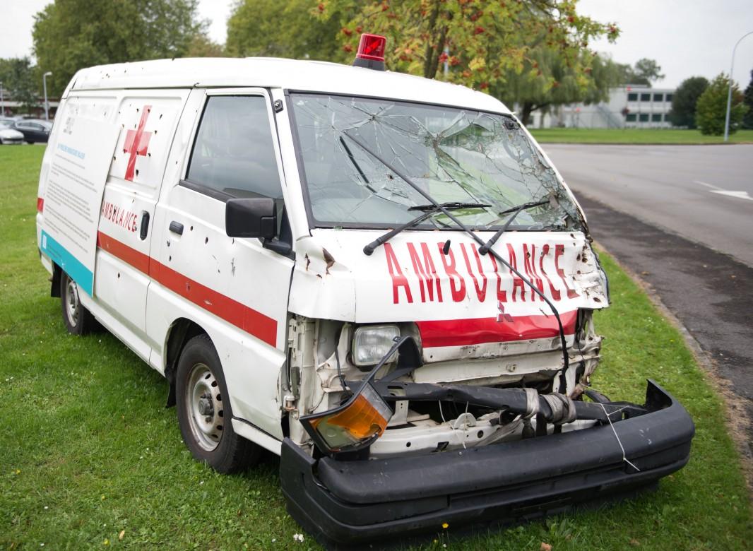 Replica of a bullet-ridden ambulance at SHAPE