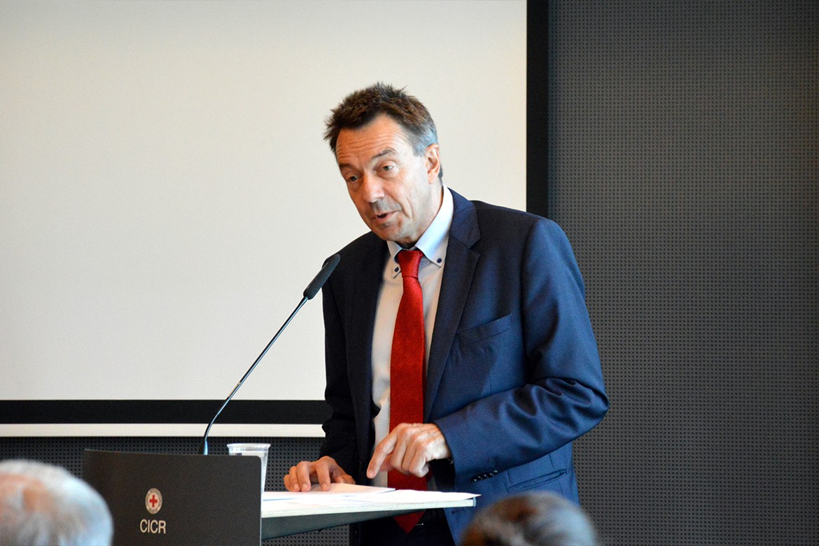 ICRC President Peter Maurer introduces the launch event.