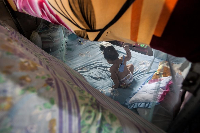 Niño en el sector materno del Centro Penal de Ilopango.