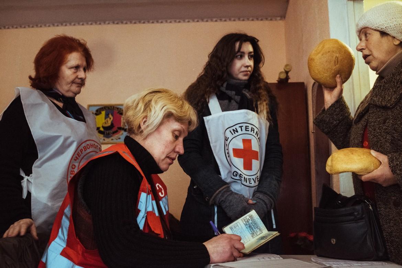 Oficina de la Cruz Roja en Lysychansk, en la región de Lugansk, diciembre de 2014.