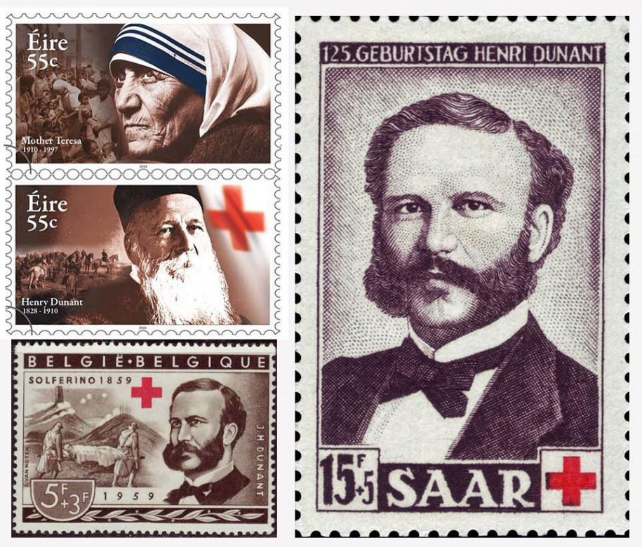 Марки разных стран, посвященные Анри Дюнану и гуманитарной деятельности.