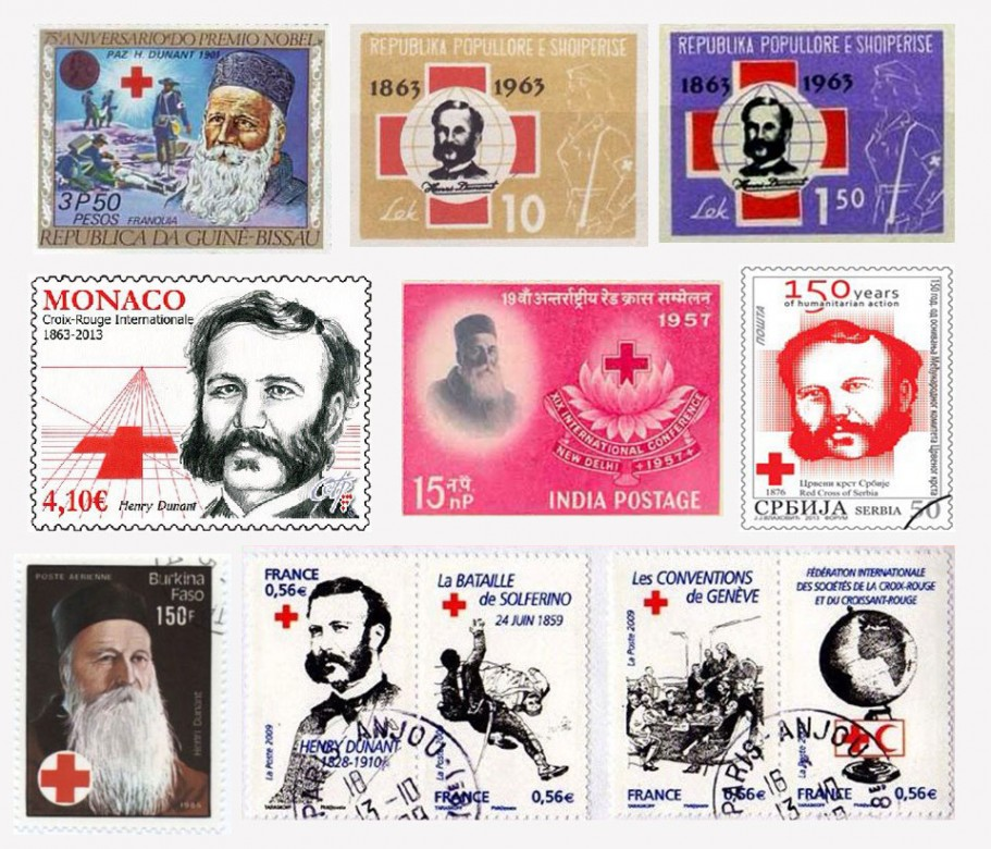 Марки разных стран, посвященные Анри Дюнану и образованию Красного Креста.