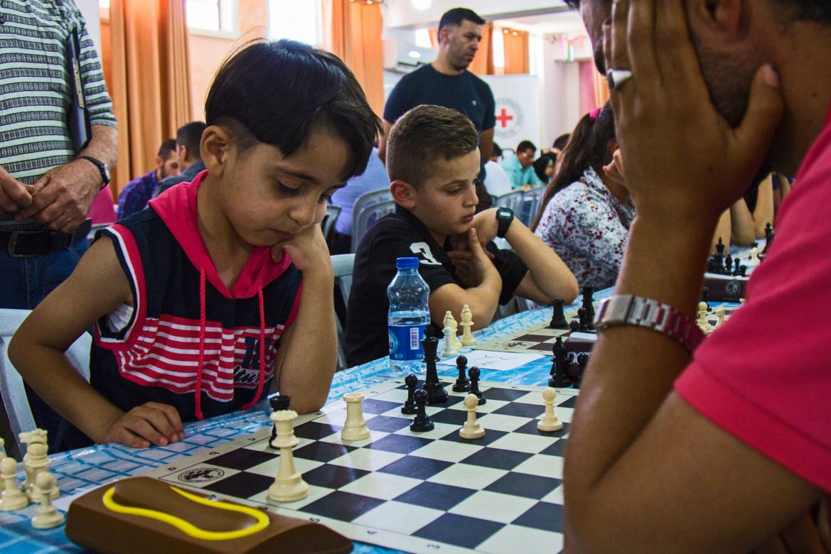 Usaid Taki Al Deen Abed Al Baset from Hebron in the West Bank is 6 years old and has been playing chess for a year.