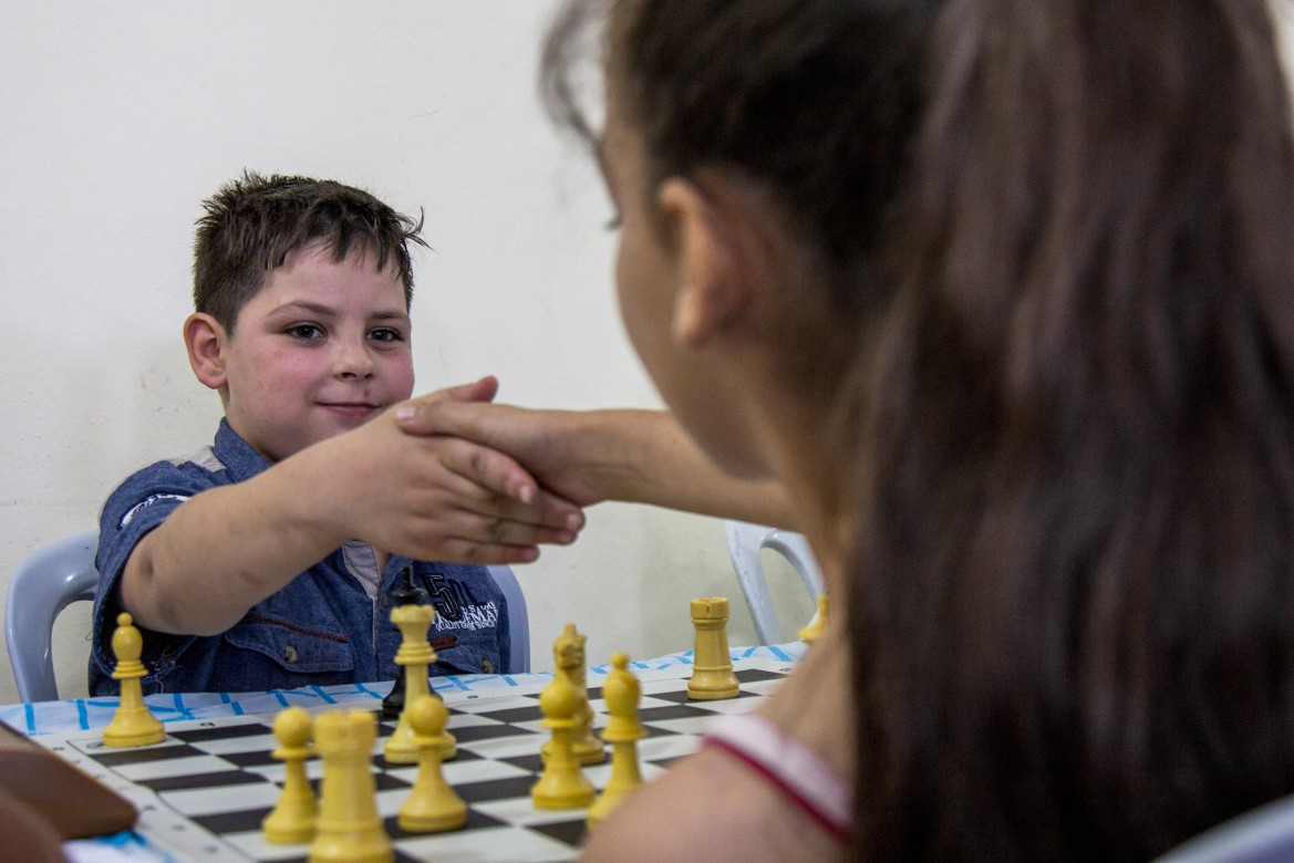 Mohammad (14) is from Beit Surik. He has been playing chess since 2013.