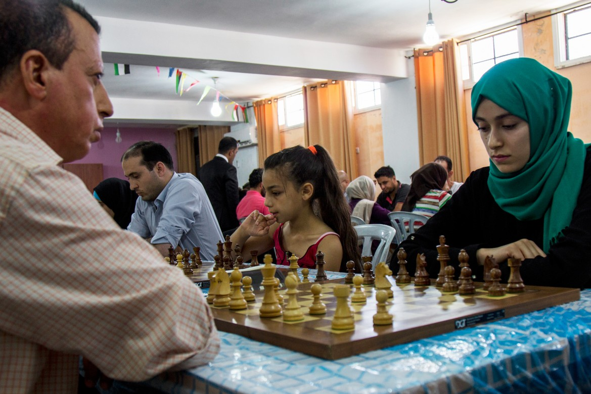 Yara (centre) was crowned Palestine champion of the 10-year-old category last year.