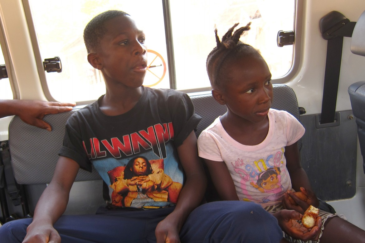 A snack and car ride before leaving Liberia