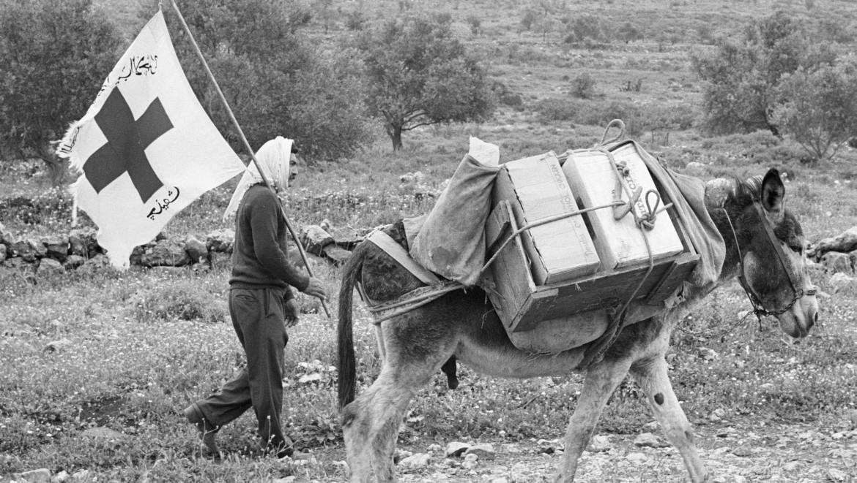 """1978年。红十字国际委员会的""""驴子行动"""",即由驴子将食物运到黎巴嫩南部的各个地区。"""