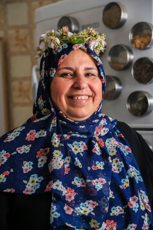Siham El Assar, 54, de Nusairat. Mãe de sete filhos e governanta do CICV há dez anos.