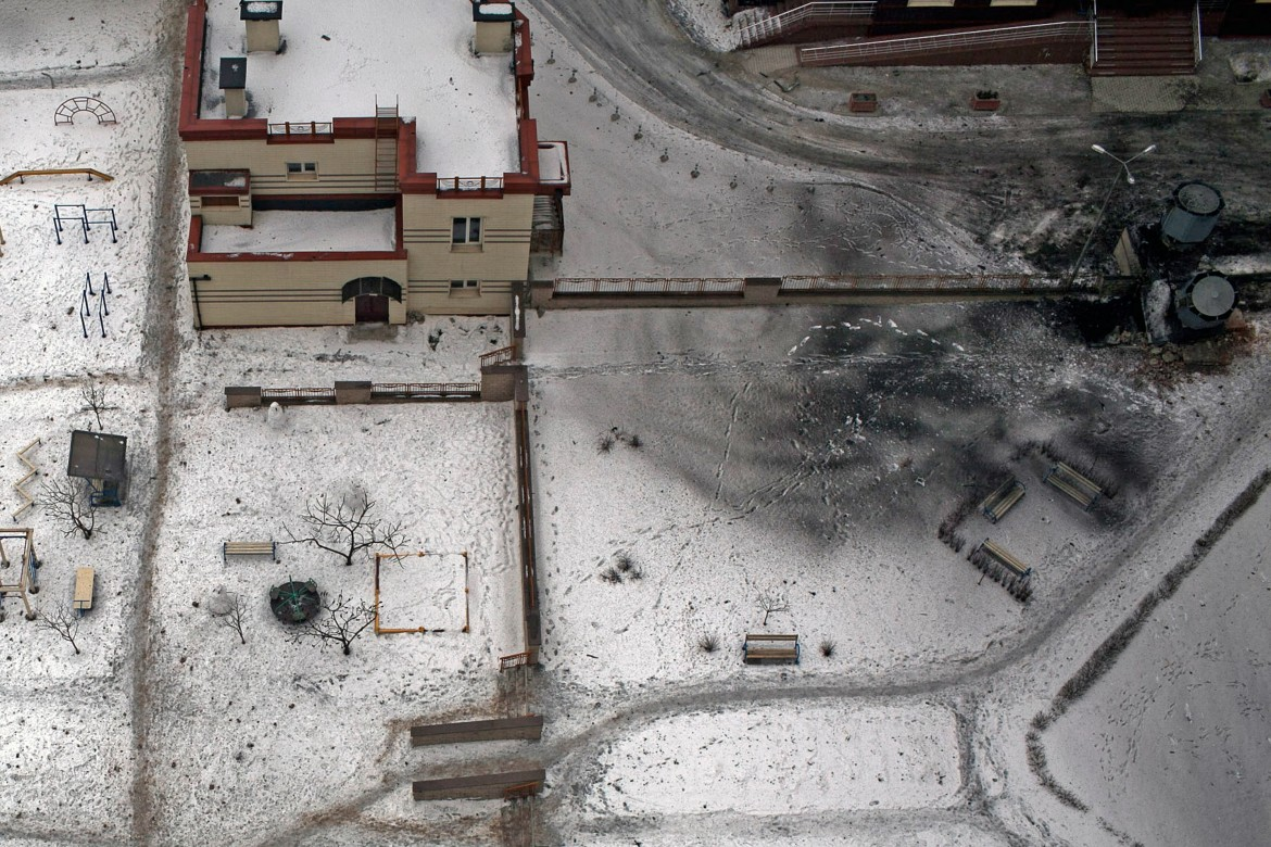 Donetsk, Ukraine, January 2015. A children's playground, seen from the air following shelling in a residential area of Donetsk.