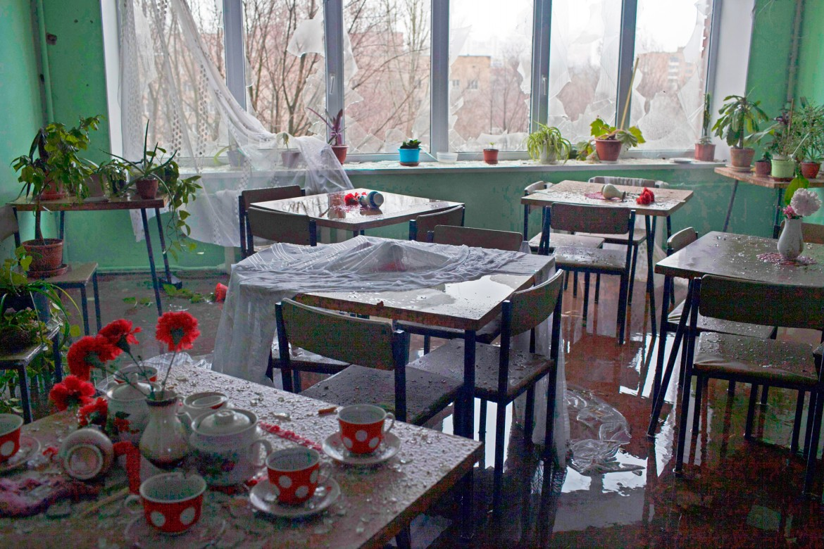 Donetsk Hospital No. 3, Ukraine, January 2015. The hospital cafeteria, damaged by shelling.
