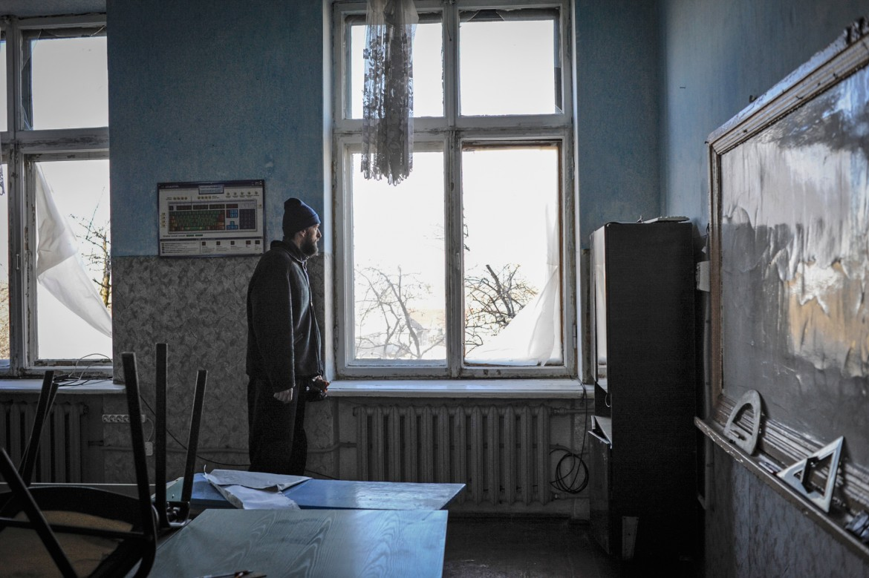 Oleksandrivka, cerca de Donetsk, Ucrania, 24 de febrero de 2015. Hoy no hay clase. Y mañana tampoco.