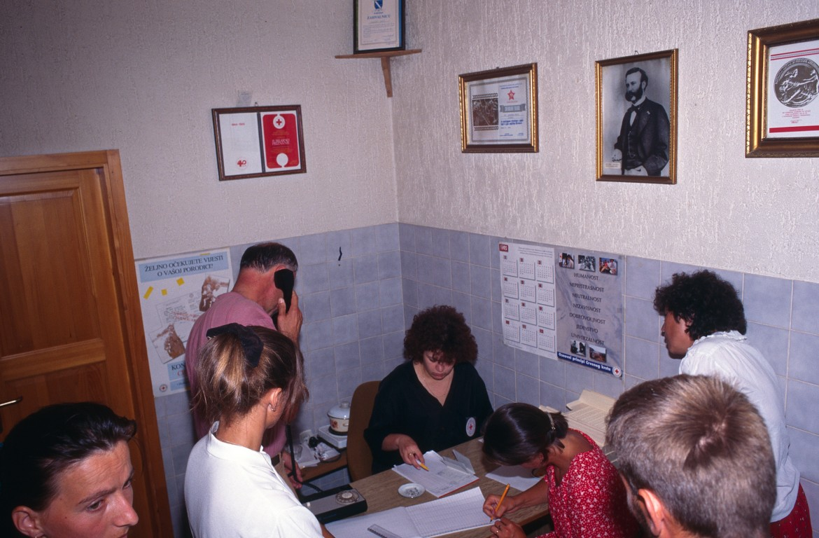Red Cross tracing office, Tuzla region, Bosnia-Herzegovina, 1995.