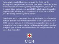En seguimiento a la liberacion por parte del gobierno Nicaragua de 100 personas privadas de libertad.