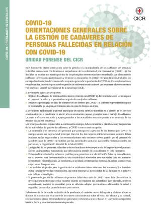 Orientaciones generales sobre la gestión de cadáveres de personas fallecidas en relación con COVID-19