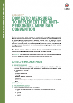 CHECKLIST : Domestic Measures to Implement the Antipersonnel Mine Ban Convention