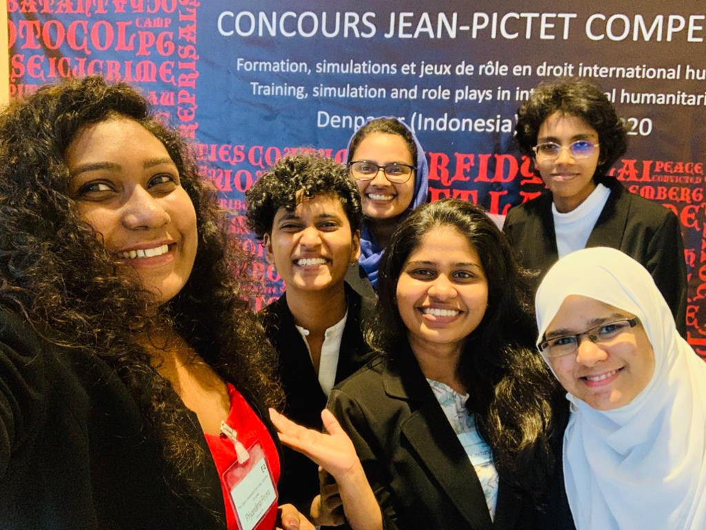 Law students from the faculty of law, University of Colombo and the Open University of Sri Lanka who took part in the Jean-Pictet International Humanitarian Law competition held in Indonesia, March 2020.