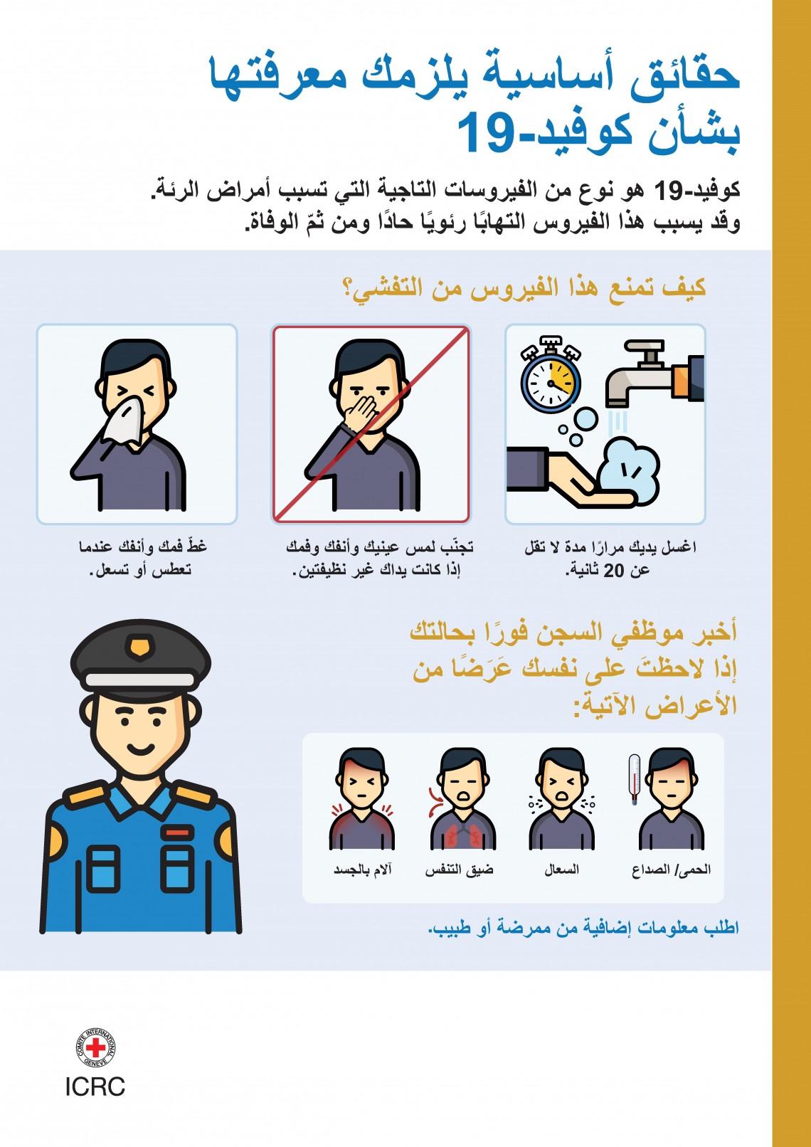 ملصق لتوعية المحتجزين حول كوفيد-19