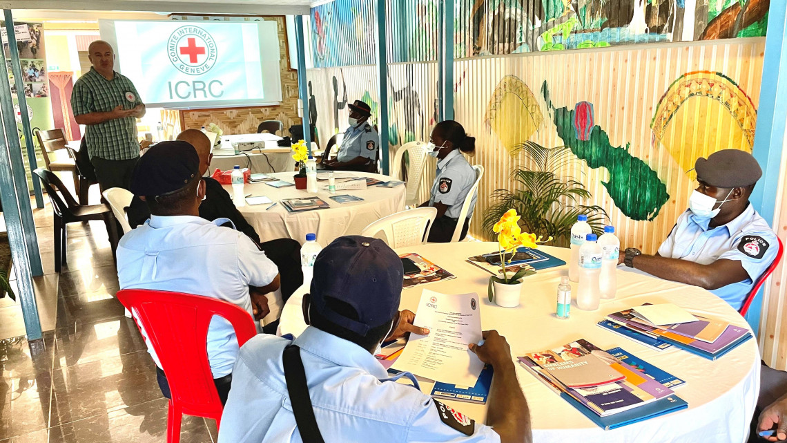 International Committee of the Red Cross (ICRC) Head of Office in Bougainville Mukhamed Khavtsukov addressing police officers in Arawa yesterday during the workshop on International Policing Standards.