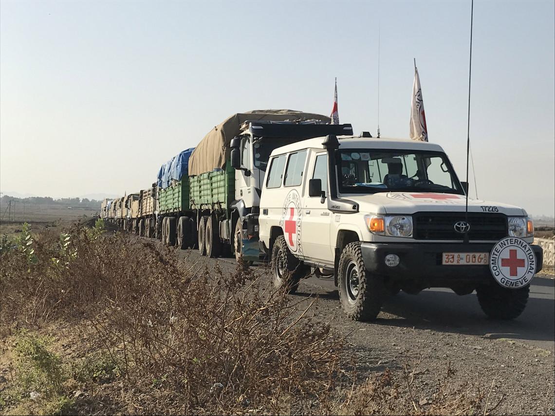 IKRK-Konvoi mit humanitären Hilfsgütern für Tigray.