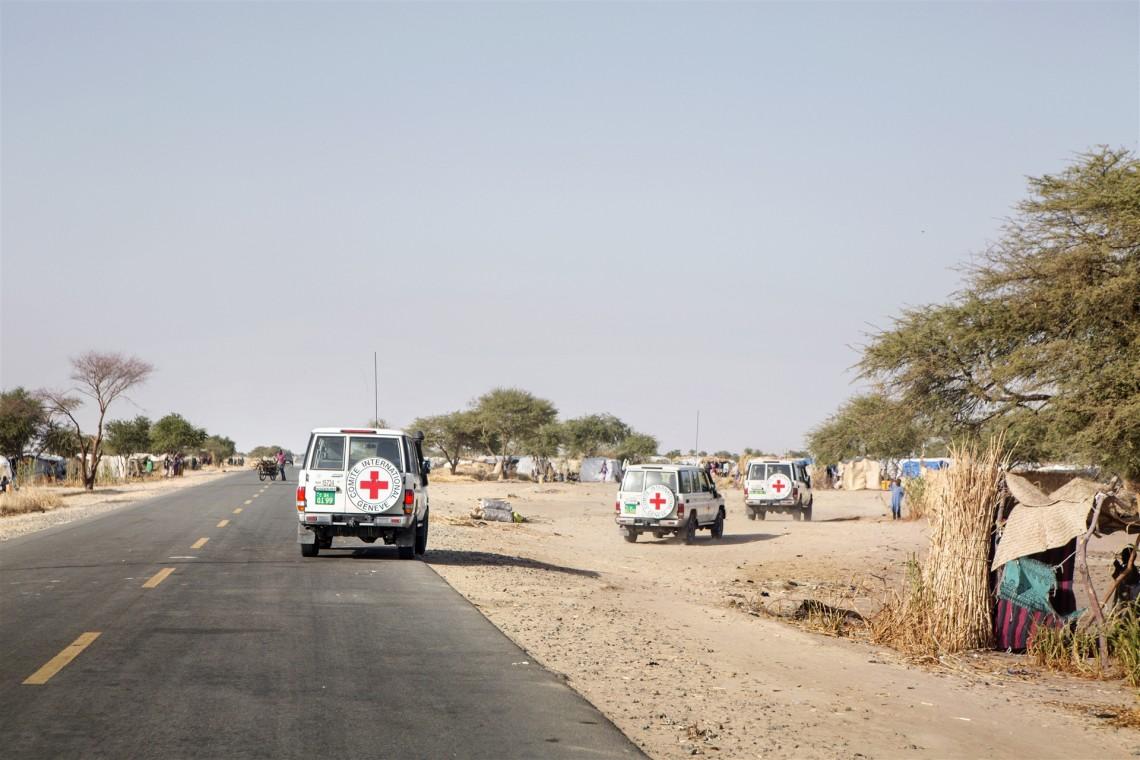 Das Dorf Boudouri. IKRK-Fahrzeuge während eines IKRK-Präsidentenbesuchs im Dorf. CC BY-NC-ND / IKRK