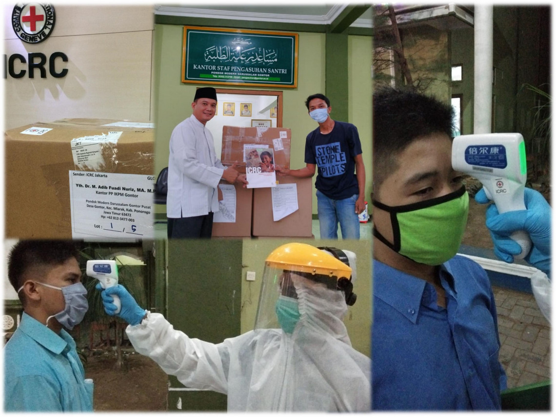 The ICRC donated face shields, medical gloves and masks, contactless thermometers and posters on hygiene guidance to Pesantren Darussalam Gontor Ponorogo – an Islamic boarding school in East Java, Indonesia.