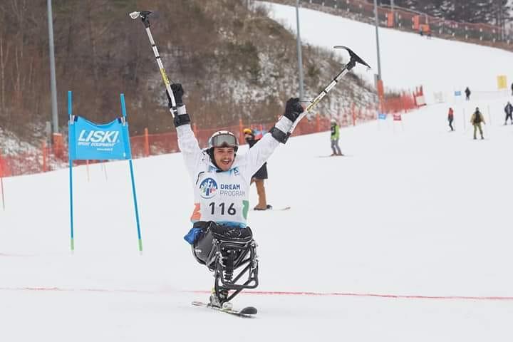 Ramesh Khatri experiences the thrills of para ski in South Korea. (Photo: Ramesh's Facebook)