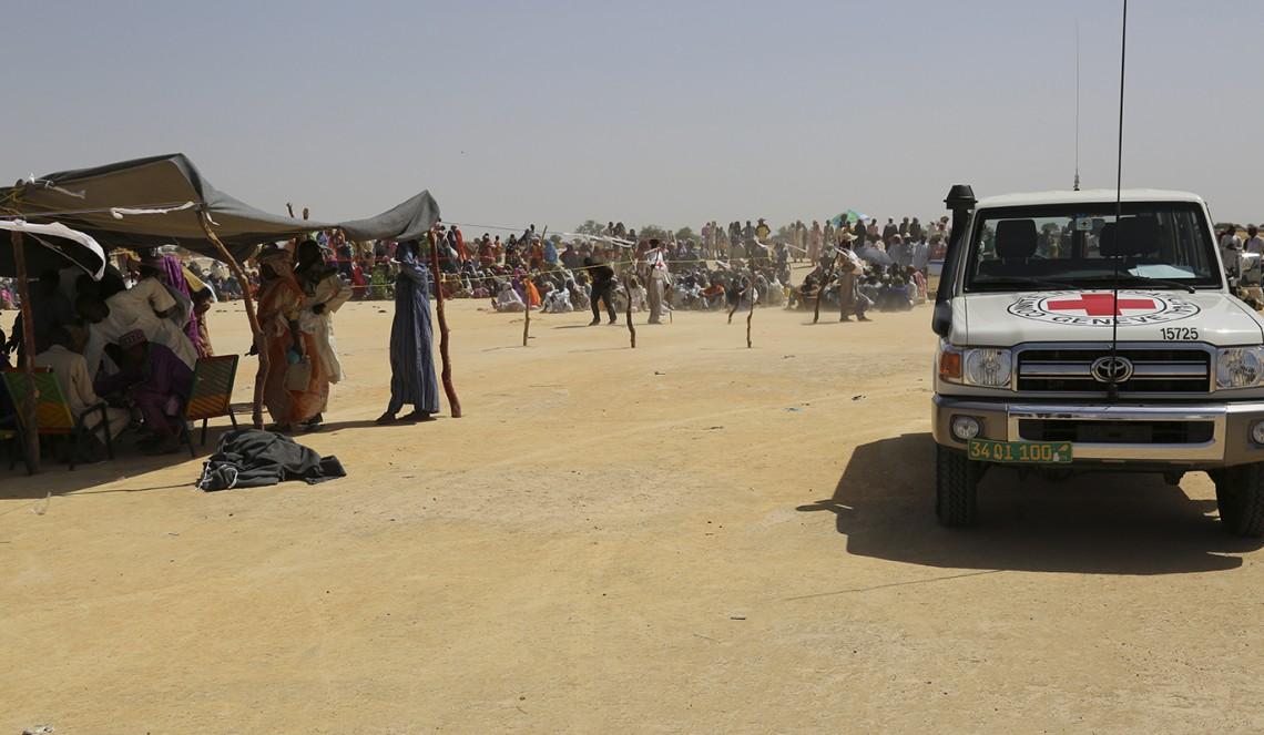 Distribution de secours aux personnes déplacées à Diffa.