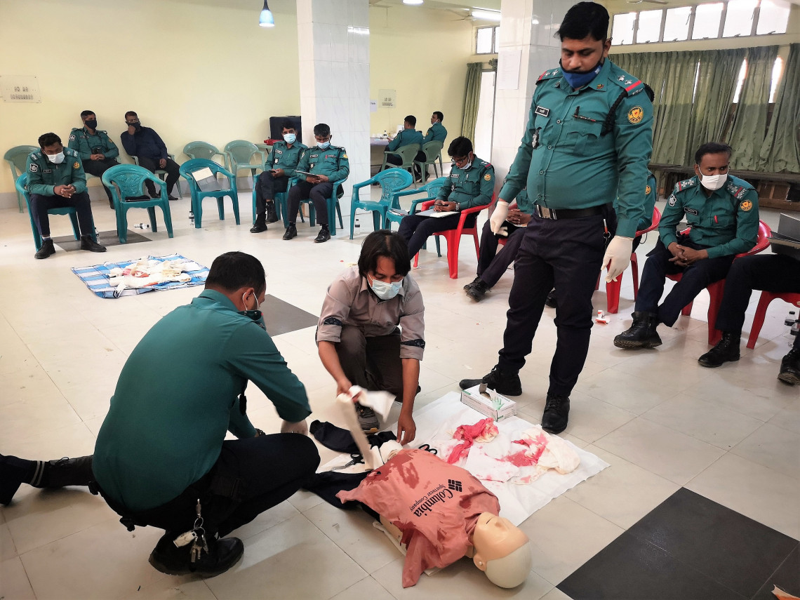 Participants learn basics of first aid through practical sessions