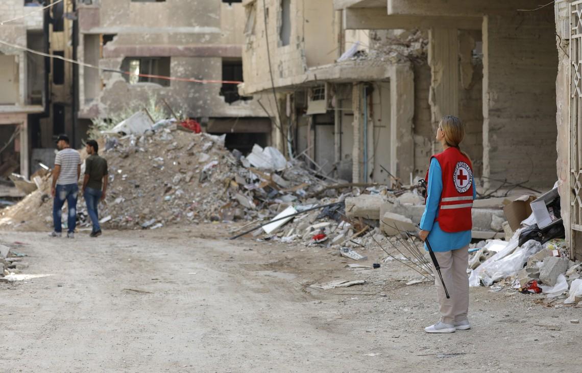 Анастасия Исюк в Восточной Гуте, Сирия.