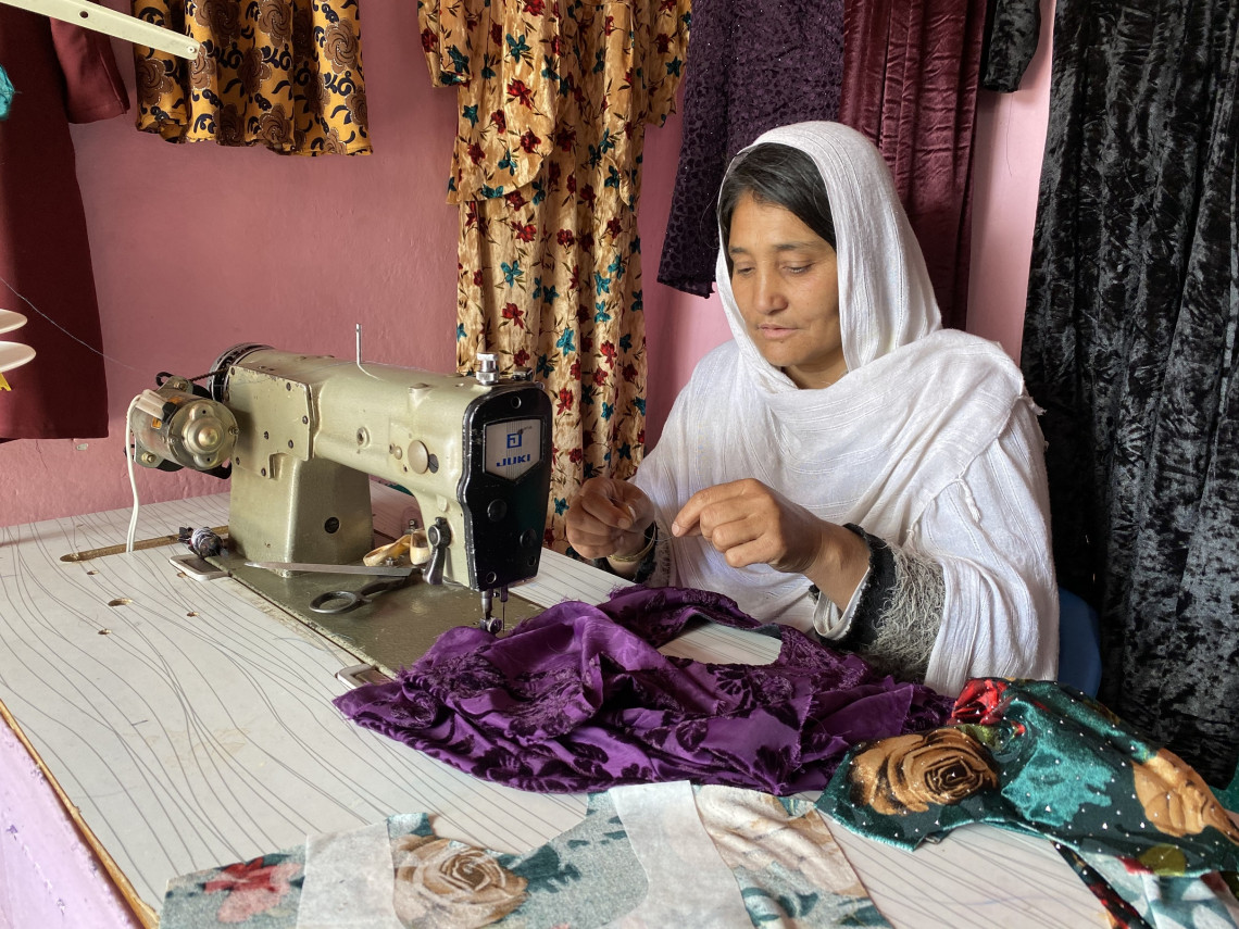 Gulshah has set up her work station in her small living room.
