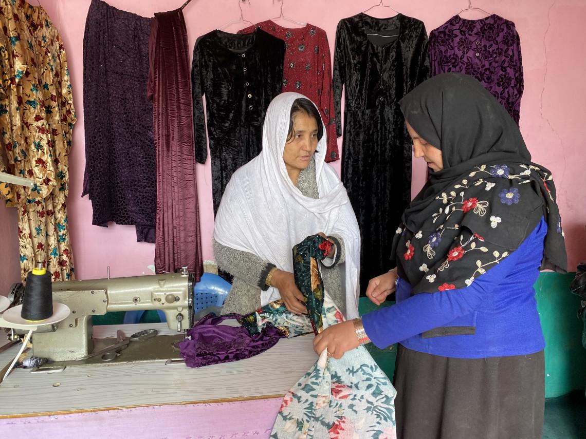 Gulshah passes on her stitching skills and hope to her student Shahnaz.