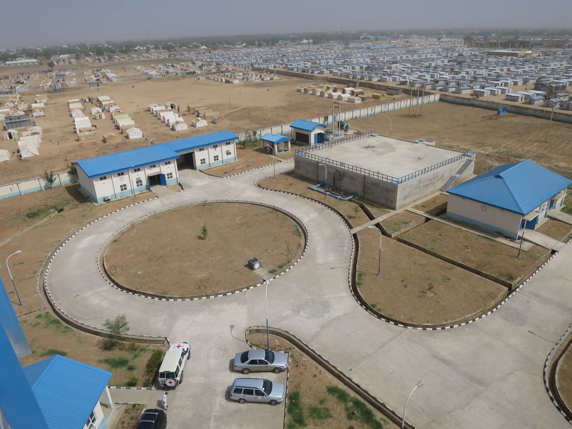 Maiduguri, Nigeria. Aerial view of the Alhamduri water plant, February 2019.
