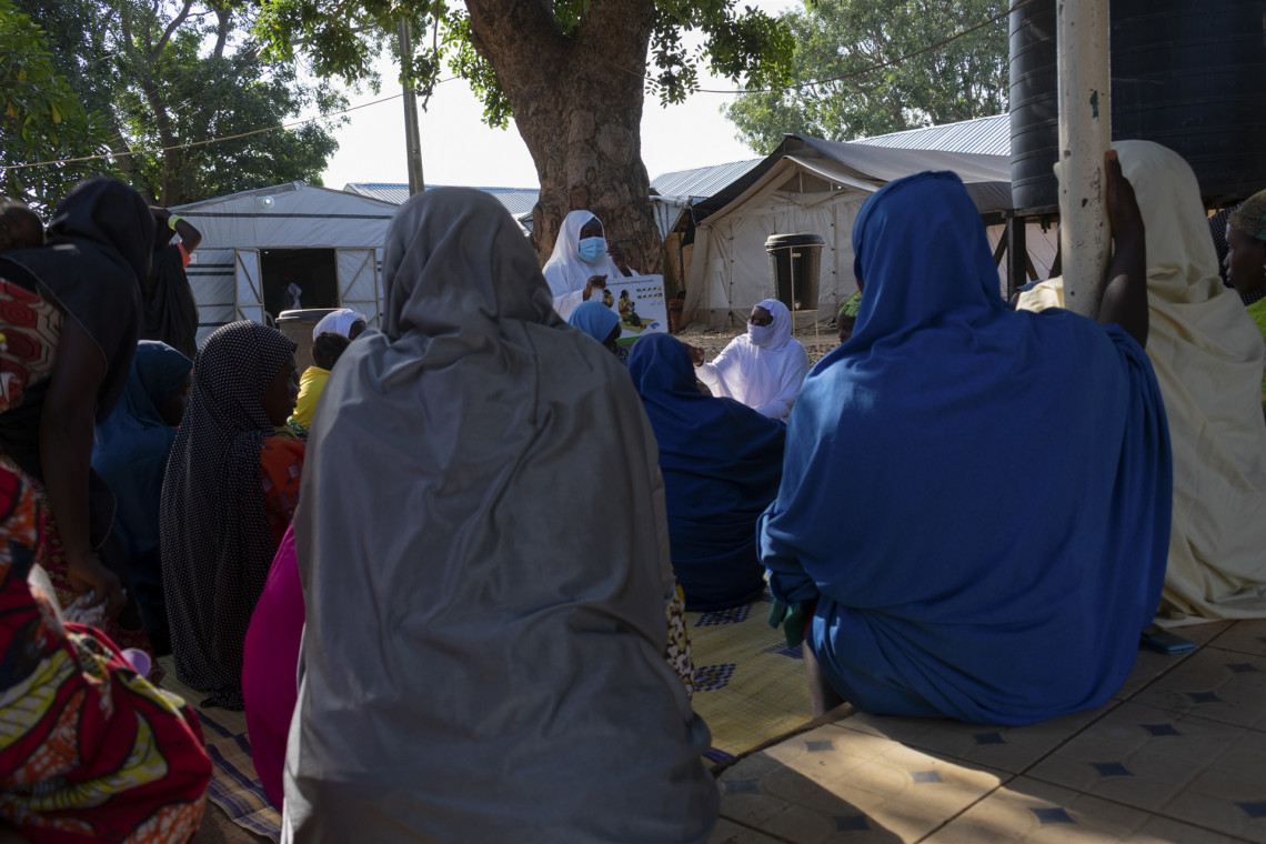 Borno State, Nigeria. Mothers attend an information session at Biu General Hospital on complementary feeding for malnourished children, November 2020.