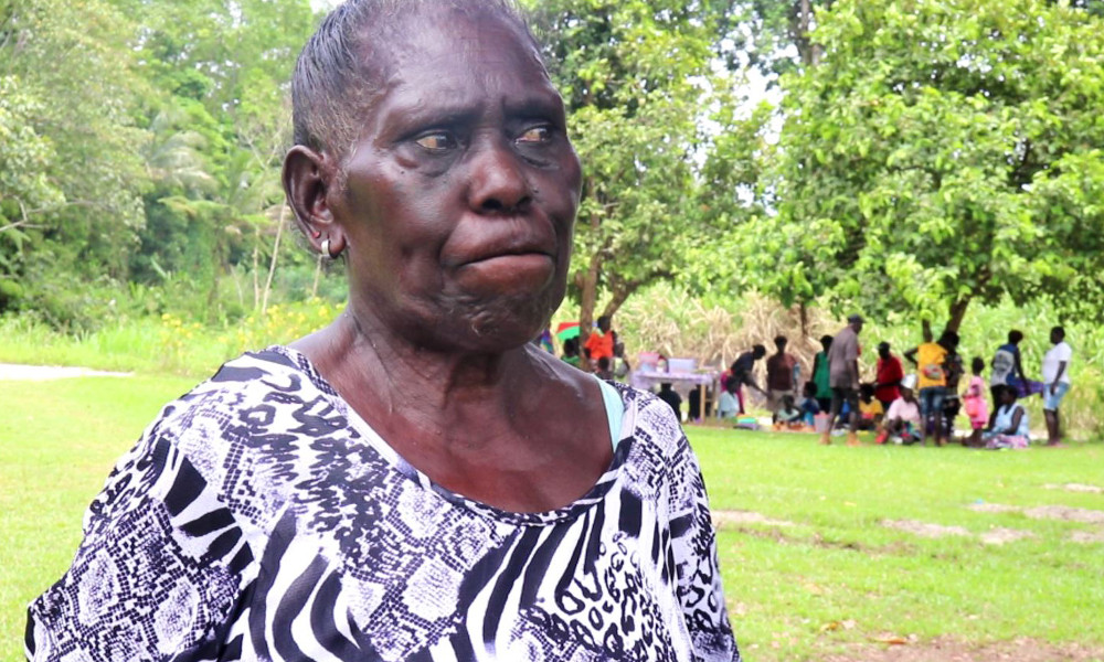 A very emotional Catherine Anugu expressing herself over the loss of her missing husband after the unveiling of the Siwai Monument of the missing persons in Bougainville in March early this year.