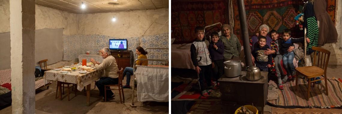 À gauche, le père d'Arakel et de Zohrak dîne seul à table. À droite, l'arrière-grand-mère et la grand-mère sont installées près du poêle à bois avec les jeunes garçons. CC BY-NC-ND / CICR / Areg Balayan
