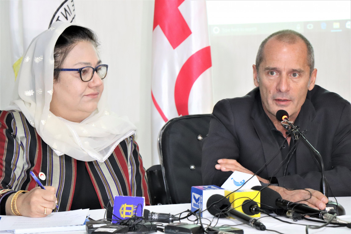 Mr. Juan Pedro Head of Delegation for ICRC, Dr. Nilab Mobarez the Secretary General of Afghanistan Red Crescent Society and Pierre Kremer, Head of Delegation for IFRC answering to the reporters' questions. Masoud Samimi/ICRC