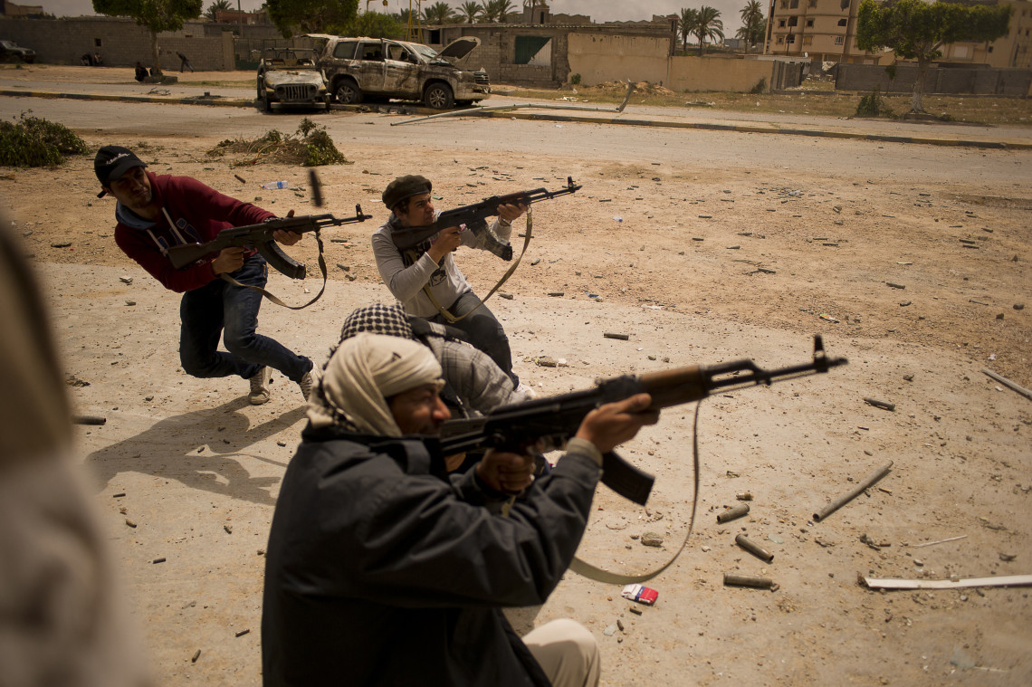 Street fighting in Misrata, Libya. Protecting the civilian population in such situations is a priority for the ICRC.