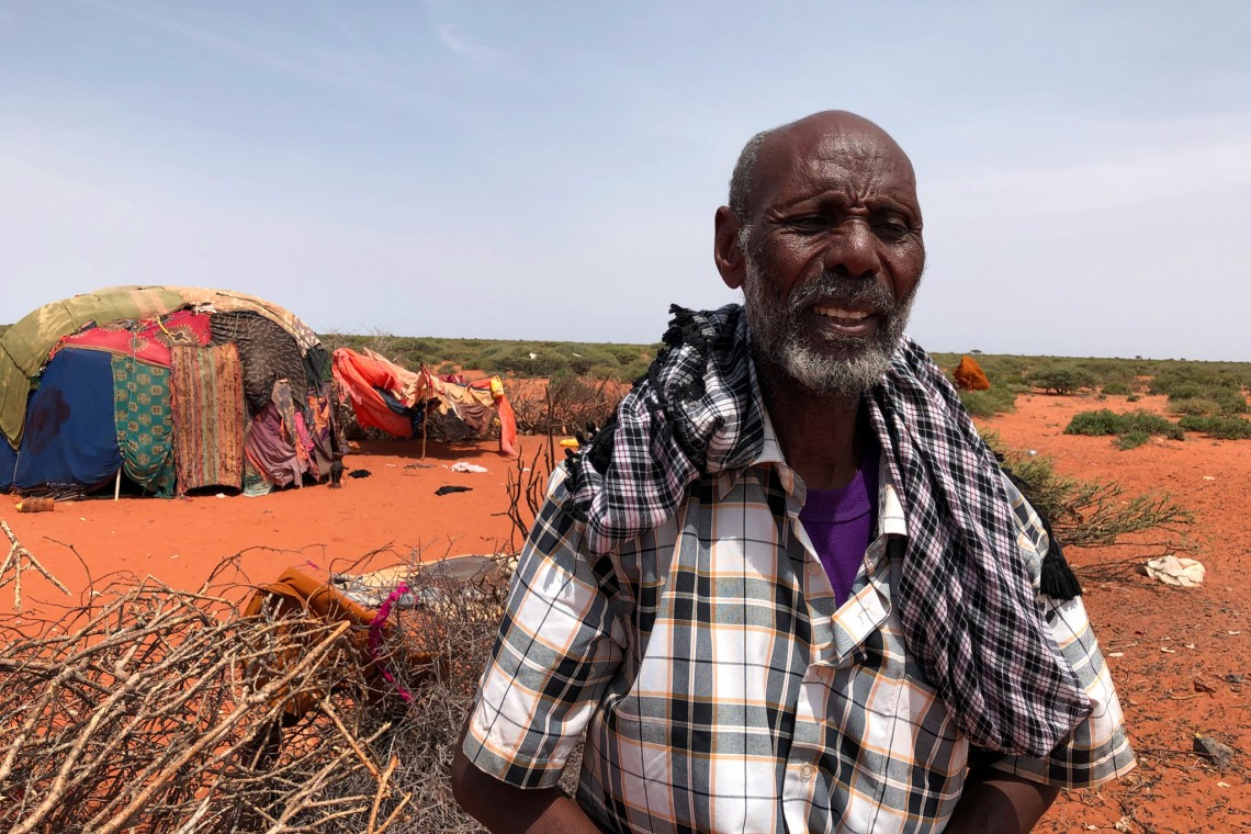 63-year-old Sowdhe Ali recounts owning 400 goats and 5 camels in 2016 before the start of the drought. In 2019, his herd had been reduced to just 50 animals. Photo: Anisa Hussein