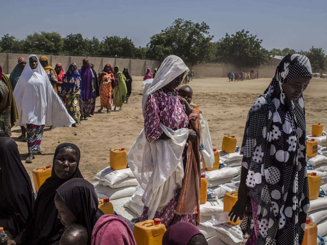 Thousands of people displaced by conflict in northeast Nigeria have taken refuge in Maiduguri.
