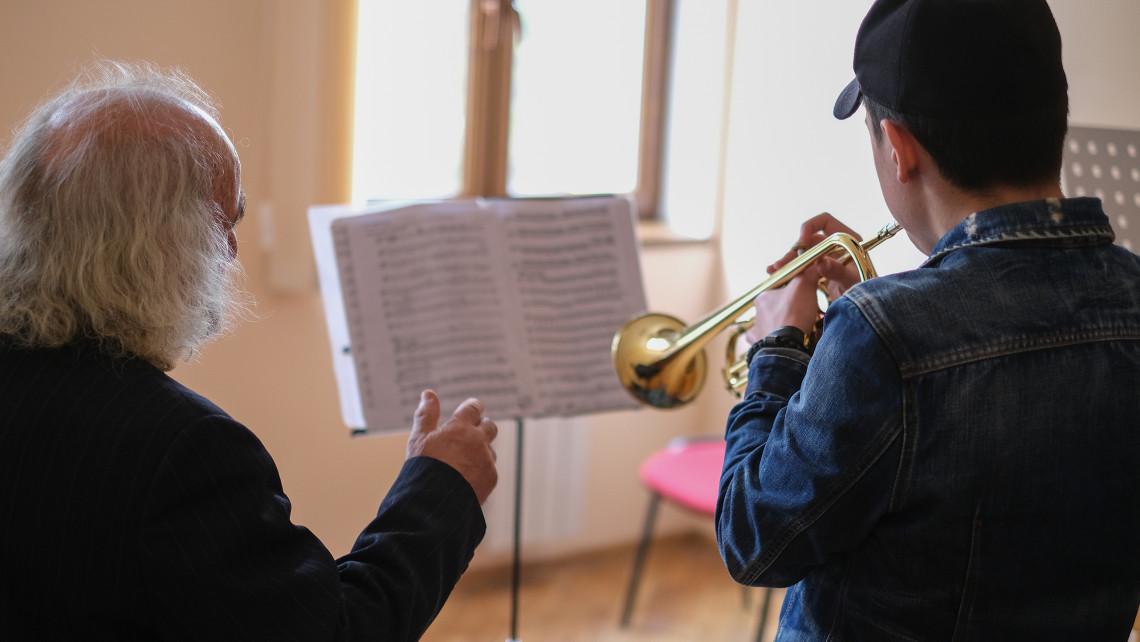 Vahagn honing his skills at music school.