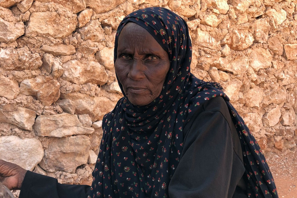 60-year-old Bahila Hassan, a resident of Docoley village, in Adado town.