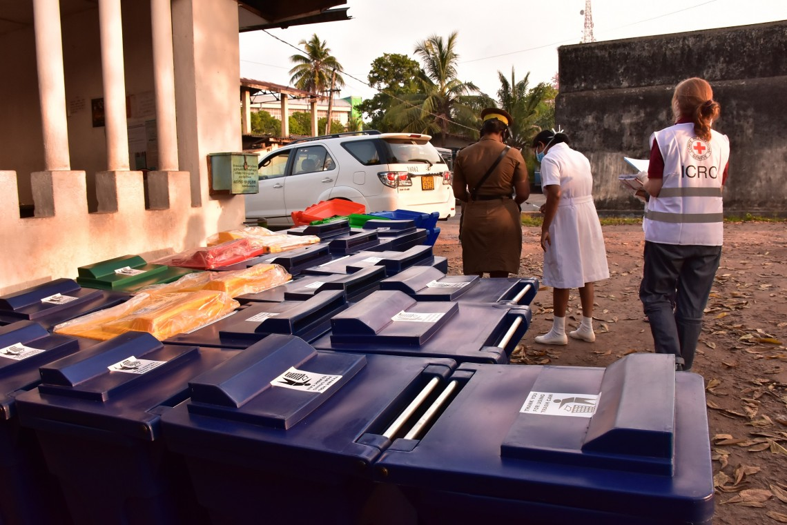 Distribution at Welikada prison – distributions include chlorine, soap, fumigation equipment, alcohol sanitizer and cleaning equipment, waste management equipment and personnel protective equipment