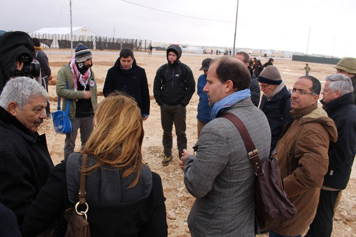 Zaatari refugee camp, Jordan.  As they visit the camp, CSG members experience a little of the cold that the refugees face daily.